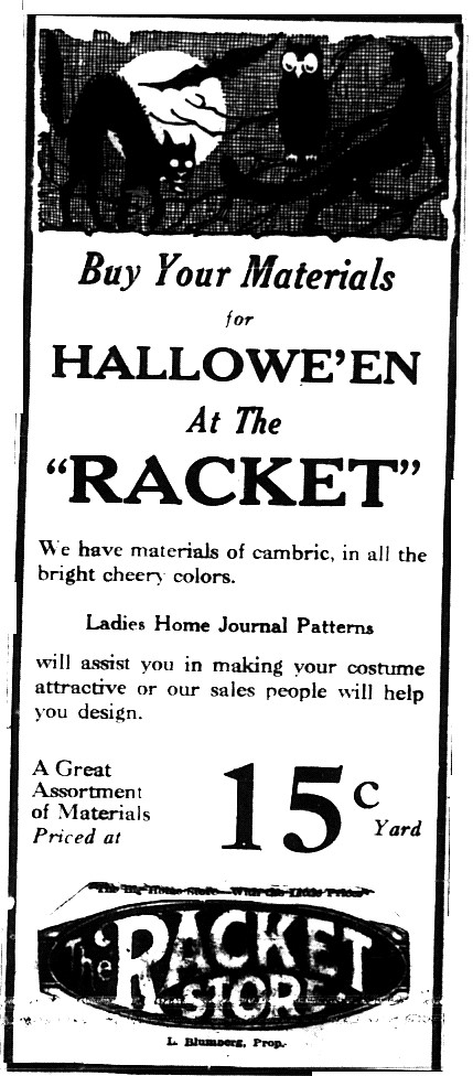 WHEN MOM STILL SEWED YOUR COSTUME! 10/27/1924