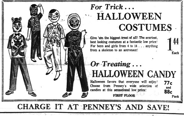 "NOTHING SAYS ""TRICK OR TREAT"" LIKE A HEAD TO TOE PLASTIC COSTUMES"
