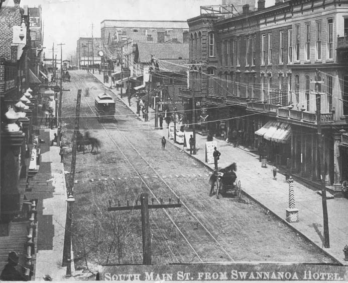 South Main Street (later Biltmore Avenue) as it looked around the time of Gallatin Roberts' fateful trip to town.