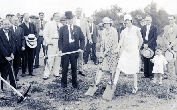 Breaking ground for the new post office, July 1929, with Mayor Gallatin Roberts front and center