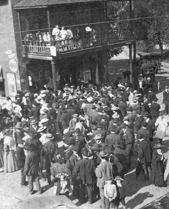 Men and women gathered for the Prohibition vote in 1907. Although women could not vote, they were there to be sure their husbands voted against alcohol.