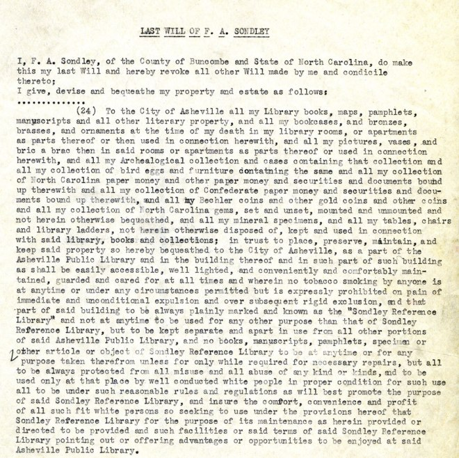 Last Will of F. A. Sondley