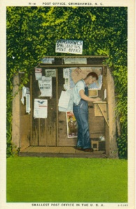 Post Office, Grimshawes, N.C. Smallest Post Office in the U.S.A.  Published by Asheville Post Card CO., Asheville, N.C.