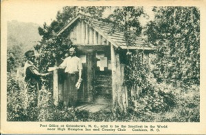 Post Office of Grimshaws (sic),  N.C., said to be the Smallest in the World near High Hampton Inn and Country Club     Cashiers, N.C.  The Finest American Made View Cards-The Albertype CO, Brooklyn, N.Y.