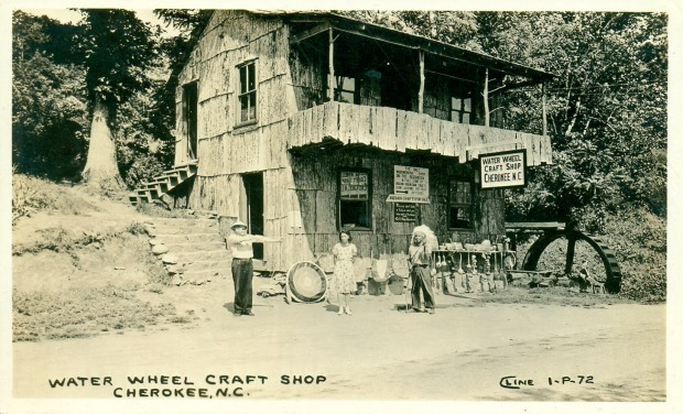 Water Wheel Craft Shop, Cherokee, N.C. Published by Cline Photo Co., Chattanooga, Tenn.
