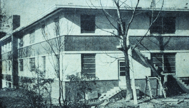 One of the buildings of the Allen School taken in 1952. The building complex is now the Asheville Office Park.