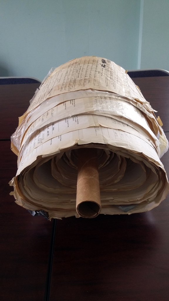 Photo of WNC Alliance's 1989 petition against clear-cutting taken by N.C. Room staff 4/2016.