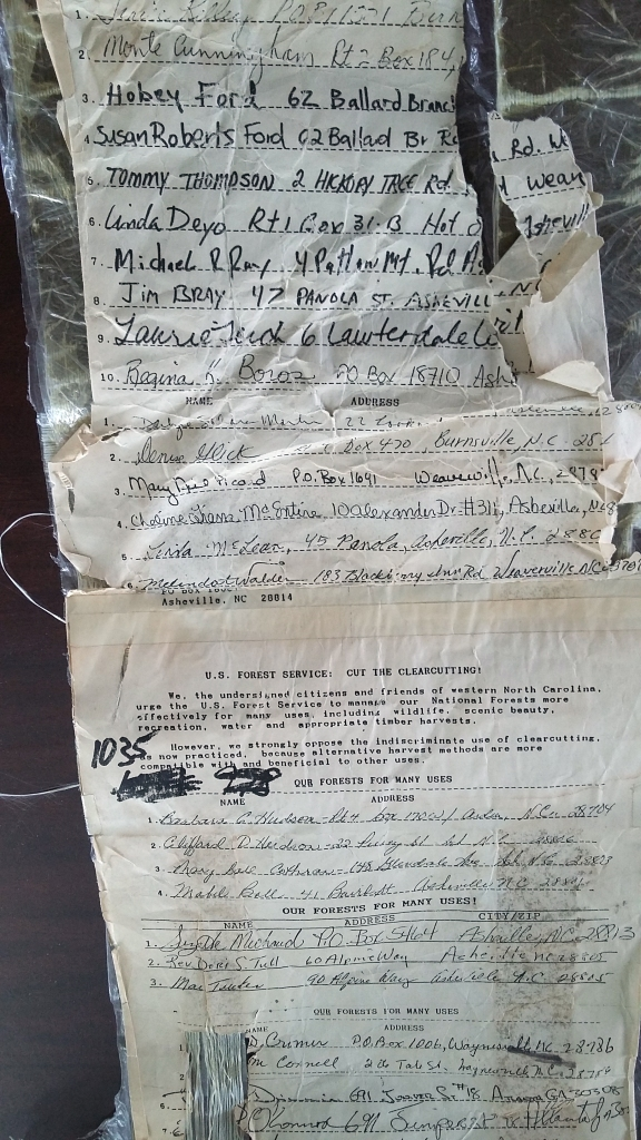 Close-up photo of WNC Alliance's 1989 petition against clear-cutting.